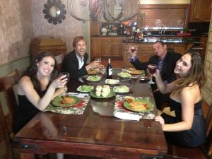 The dinner table during a filming break. Clockwise beginning at lower left: Casey, Richie, Evan, and Chanel Photo Courtesy of Smash Pictures
