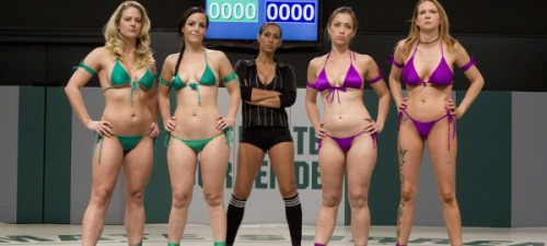 Before the match. The competitors: Holly, Audry Rose, Bryn Blaine, and Rain DeGrey. Photo courtesy of Kink.com