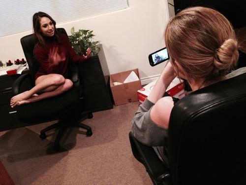 Interviewing Sara Luvv. Photo courtesy of Jeff Koga