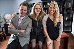 "Jacky on the set of ""fauxcest"" film, Our Father, with Steven St. Croix and Carter Cruise. Photo courtesy of Jeff Koga"