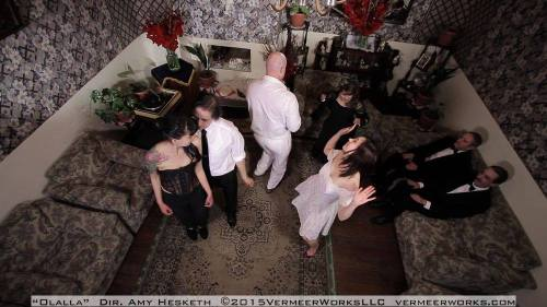 Party scene with a high angle shot.